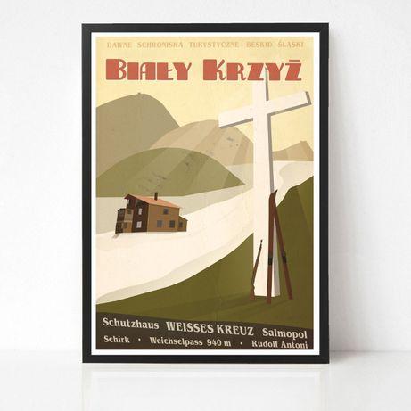 Biały Krzyż górski plakat w stylu retro Beskidy Góry Narty