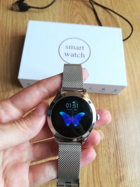 Smartwatch damski kw 10 kolor srebrny elegancki na bransolecie
