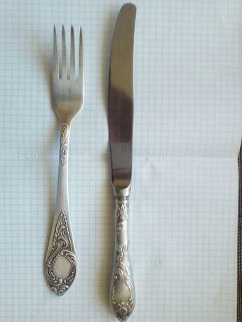 Нож и вилка мельхиор