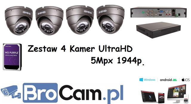 Zestaw 4 kamer 5mpx 4k/UHD kamery do monitoringu Montaż Kamer Rzeszów