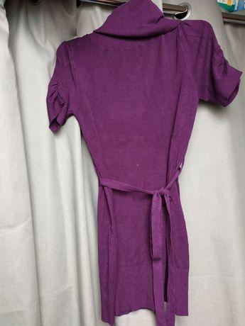 Fioletowy sweter z golfem, S