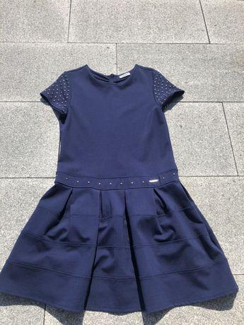 Granatowa sukienka firmy Mayoral/ rozpoczęcie roku