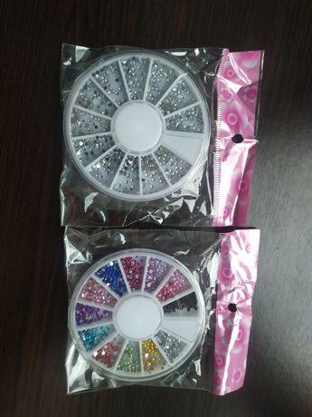 Стразы серебро цветные карусель 2шт набор декор для ногтей