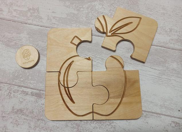 Duża układanka drewniana - Jabłko - puzzle montessori.
