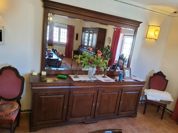 Espelho mais movel para sala, madeira maciça.