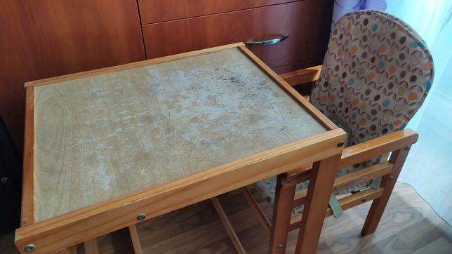 Стол столик и стул стульчик детский деревянный для кормления рисования