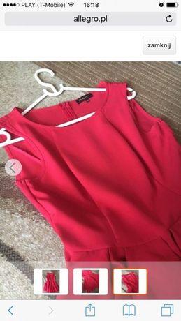 Czerwona sukienka falbany 38