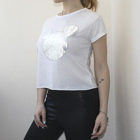 Белая укороченная футболка disney