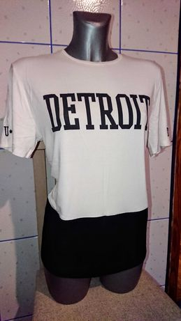 XL 42 L 40 NEW LOOK Detroit bluzka z krótkim rękawem Biała Czarna