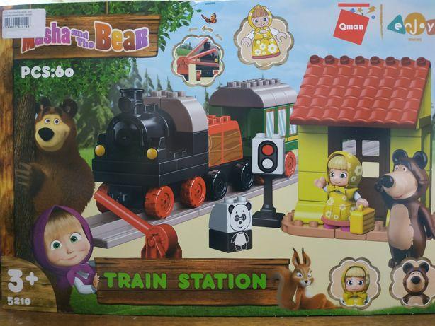 Конструктор Лего Дупло, Маша и Медведь, крупный для малышей, Поезд, Па