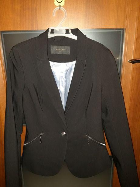 RESERVED czarny elegancki żakiet marynarka srebrne zamki 36