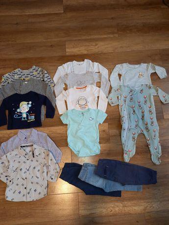 Zestaw, komplet ubrań dla chłopca rozmiar 86 spodnie, bluzy, body, etc
