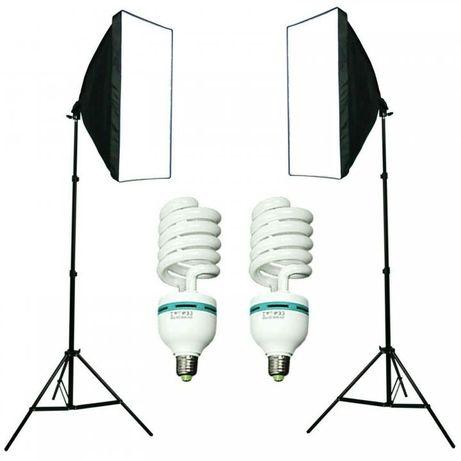 Набор для съемки 2 Софтбокса 50х70см +2 лампы+держатель фона + фон пвх