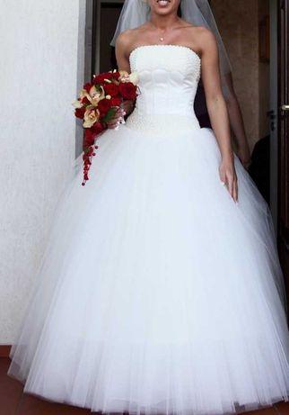Suknia Ślubna Gorset Perełki. Śliczna. Ecru