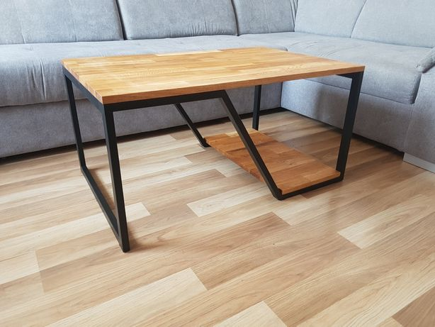 Stolik kawowy, ława, drewniany, industrialny, nowoczesny, metalowy