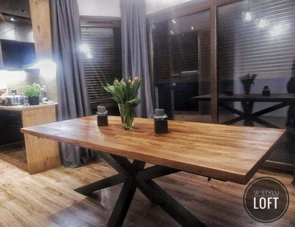 Stół dębowy stół loft rozkładany 140 x 90 do 220 x 90 nogi pająk