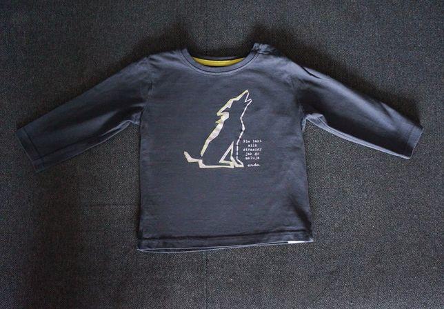 Endo Nowa bluzeczka r.98 z wilkiem szara t-shirt bluzka
