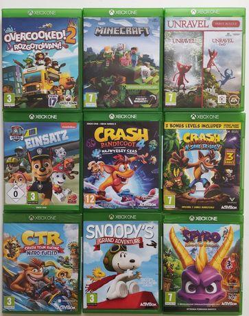 Gry Xbox one Crash CTR Spyro Unravel Snoopys Psi patrol Minecraft