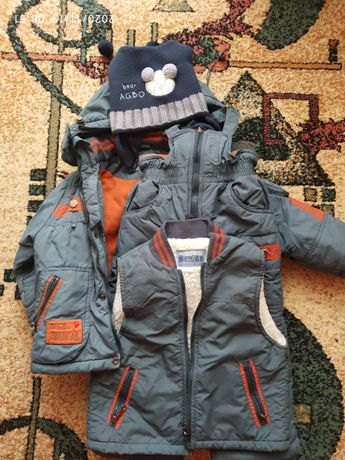 Зимний комбинезон+курточка на 3-5 лет
