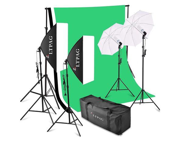 Kit iluminação estúdio foto e vídeo fundos luzes estrutura e softboxes