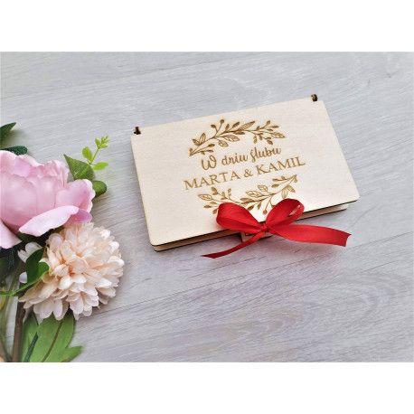 Pudełko na Pieniądze Pamiątka ŚLUB Prezent Kartka