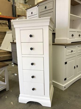 Wysoka komoda 5 szuflad w kolorze biały krem- Invory
