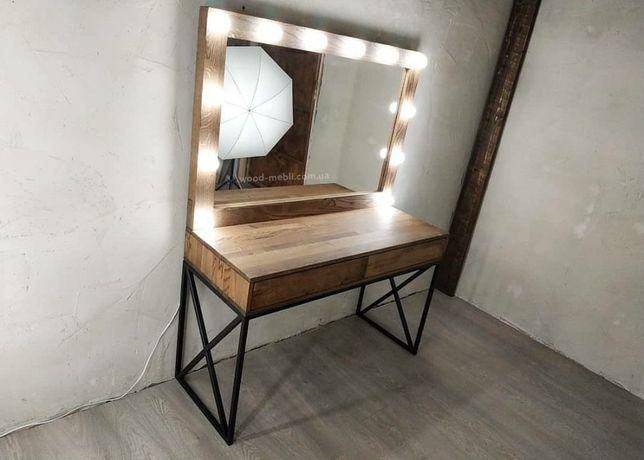 Стол визажиста для макияжа из массива дерева Ясень в стиле лофт, корич