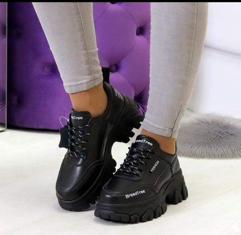 Кроссовки кожаные, белые, чёрные