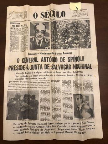 """Jornal """"O Século"""" de 26 Abril 1974"""