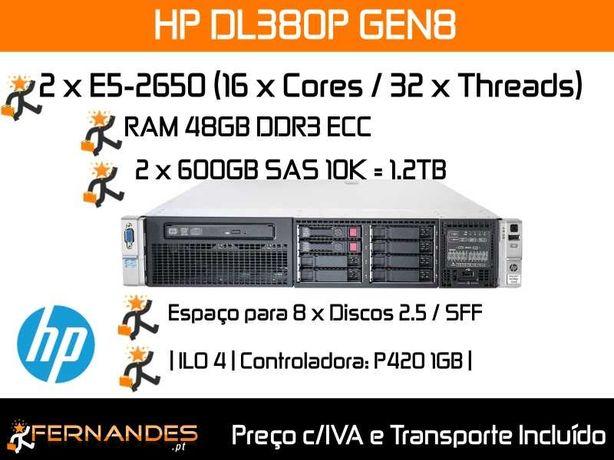 Servidor HP DL380 G8   32 x Cores   48GB RAM DDR3   1.2TB SAS