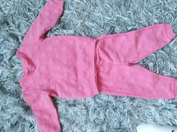 Komplet dresowy bluza dresy hm różowy tłoczenia 86 roczek