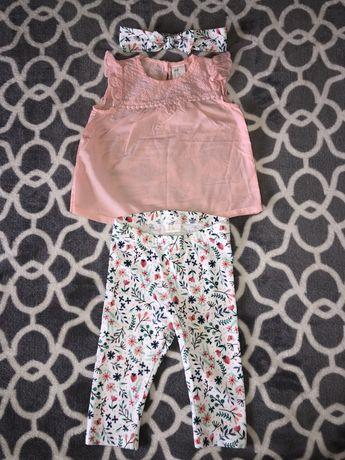 Komplet H&M ażurowa bluzka, legginsy i opaska w kwiaty