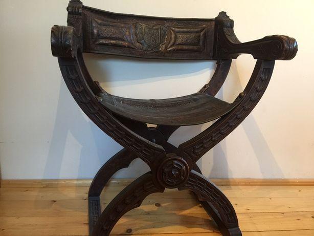 Stary Fotel Krzesło Tron Krzyżak Antyk skóra eklektyk