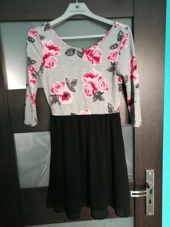 Sukienka H&M, odkryte plecy, rozmiar 36, kwiaty