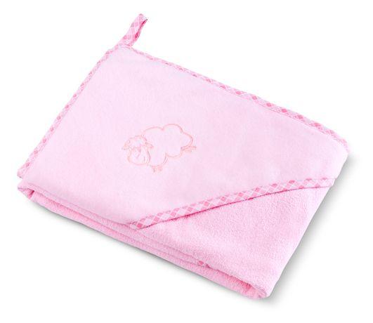 Bocioland Okrycie Kąpielowe Ręcznik Z Kapturkiem 80X80Cm Pink 0035