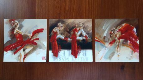 Conjunto de 3 postais/impressões - balarina
