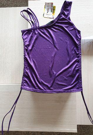 Bluzka fioletowa asymetryczna na ramiączkach M