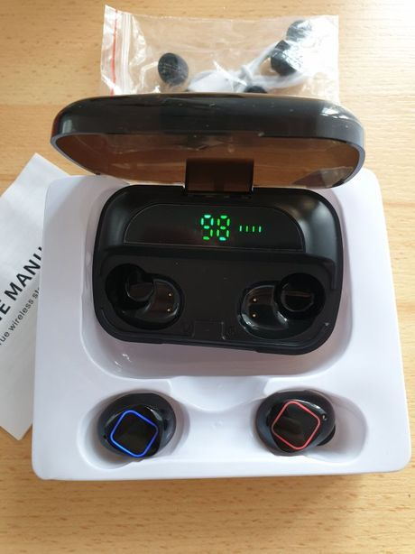 Słuchawki bezprzewodowe bluetooth 5 douszne małe powerbank wodoodporne