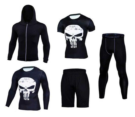 Компрессионная одежна 5 в 1 Каратель. Рашгард, леггинсы, футболка.