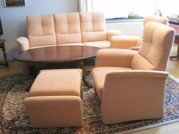 Himolla sofa 3os + 2 x fotel + 1x podnozek, prawie nowe