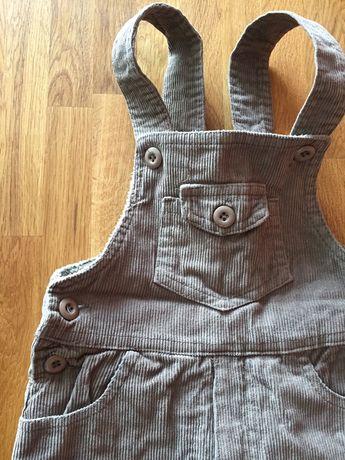 Ogrodniczki spodnie na szelkach OCIEPLANE dla chłopca 86