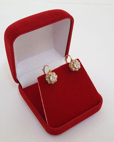 Złote kolczyki w stylu Cartier z brylantami - 1900 rok