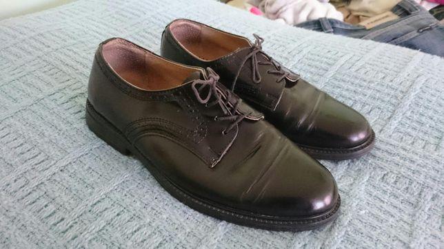 Pantofle lakierki skórzane czarne, buty męskie - Taner, rozmiar 40