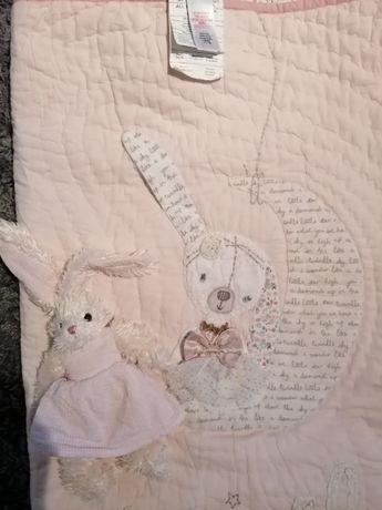 MAMAS&PAPAS Oryginalna kołderka kocyk kapa z przytulanką królik