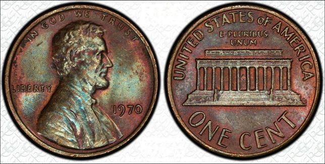 One Cent stonowanego 1970 centa