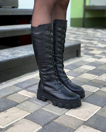 37-41 р Кожаные женские сапоги на шнуровке берцы натуральная кожа