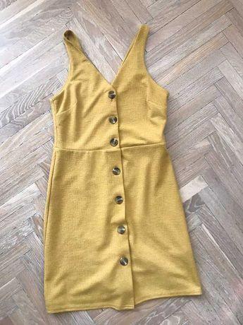 Sukienka na lato new look XS S ramiączka na ozdobne brązowe guziki 36