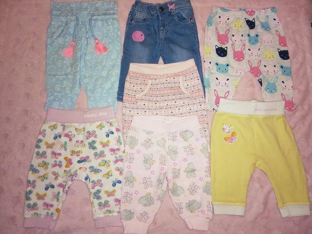 Spodnie dresowe, jeansy, legginsy, ogrodniczki dla dziewczynki, r. 74