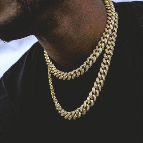 2 Metalowy łańcuszek naszyjnik łańcuch kolorze złoty hip-hop rap bling