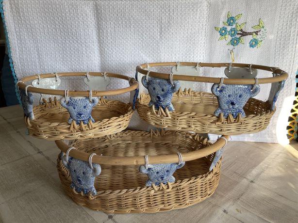 Conjunto de 3 cestos de organizacao ursinhos